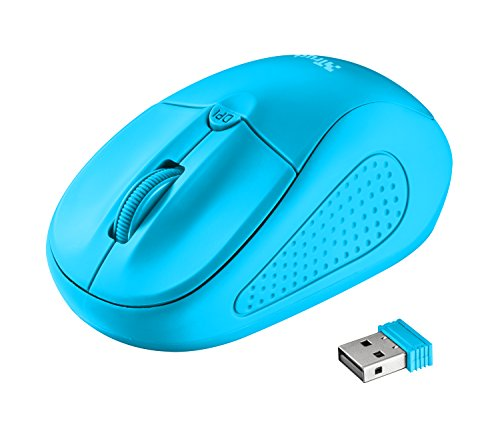 Trust Primo optische Funkmaus (1600 dpi, 4 Tasten, für Rechts- und Linkshänder geeignet) neon blau