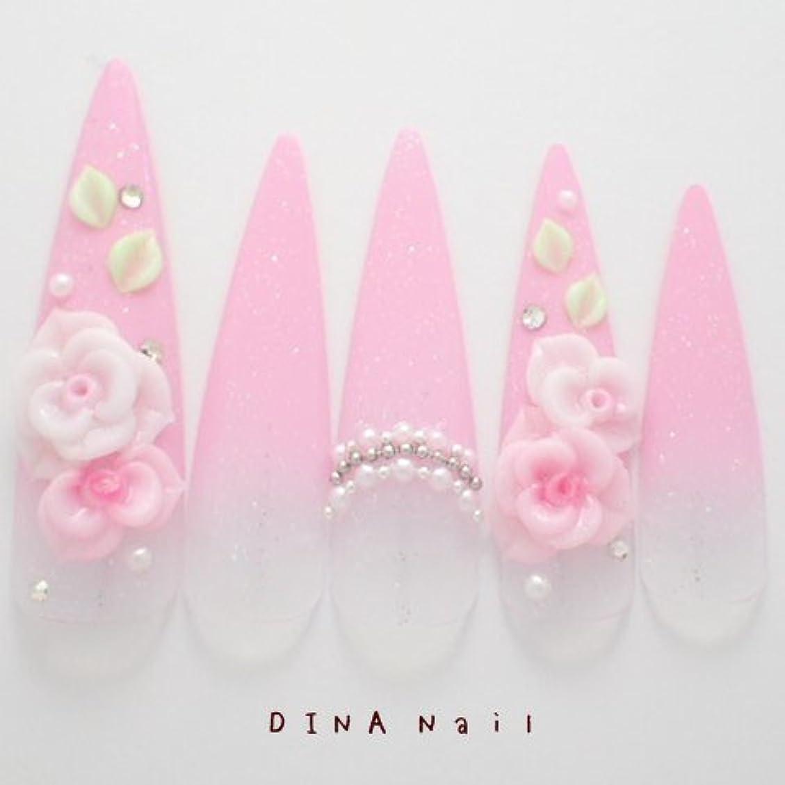 涙が出るたくさん娘DINAネイル ピンクグラデ3D薔薇  ロングポイントLL(05468番) ネイルチップ