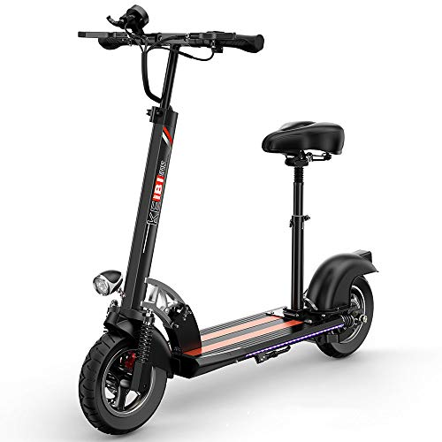 QIANG 10.4Ah Patinete Eléctrico Adulto con Asiento Plegable E-Scooter con Pantalla LCD...