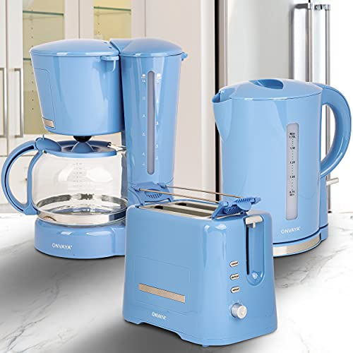 ONVAYA® Frühstücksset | hellblau | Kaffeemaschine Toaster Wasserkocher Set | Frühstücksserie 3 in 1 | Filterkaffeemaschine für 12 Tassen | Toaster für 2 Scheiben | Wasserkocher 1,7 Liter