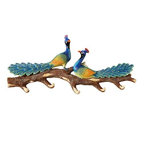 Aveo Perchero de Pared Pastoral Resina 3D Simulación del Pavo Real Colgador de Pared Fuera de la Florida Bird decoración de la Puerta Gancho Porche Clave Perchero Ganchos Adhesivos (tamaño : 6 Hooks)