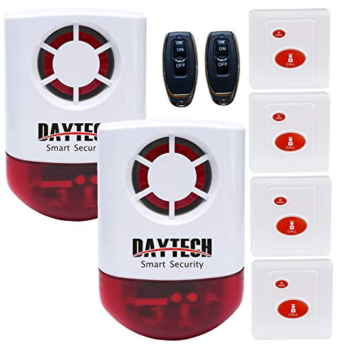 Daytech Strobe Siren Alarm Home Caring Loud Outdoor SOS Alert System 1 Red Flashing Siren,2 Remotes Panic Button, 4 Emergency Button for Store Home Hotel Jewelry Shop Security & Fire Alarm