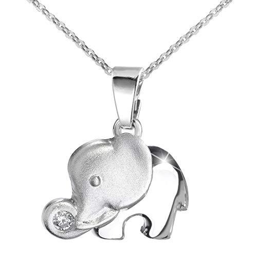 MATERIA 925 Silber Elefant Kettenanhänger teilmattiert - Schmuck Anhänger Zirkonia weiß + Box #KA-99