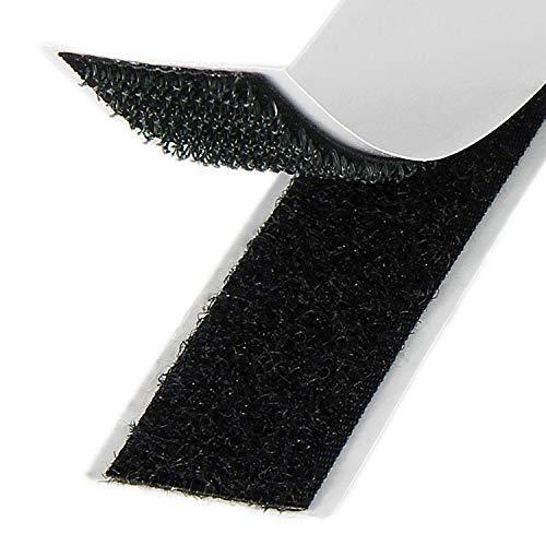 Klebeshop24 KLETTBAND SELBSTKLEBEND | Set Haken & Flausch | Farbe, Länge, Breite wählbar (20 mm x 3 m, Schwarz)