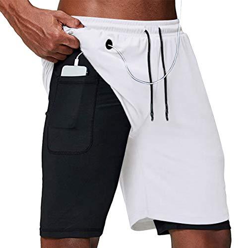 Yidarton Shorts Herren Sport Sommer 2 in 1 Kurze Hosen Schnelltrocknende Laufshorts Fitness Joggen und Training Sporthose mit Taschen (405-Weiß, Medium)