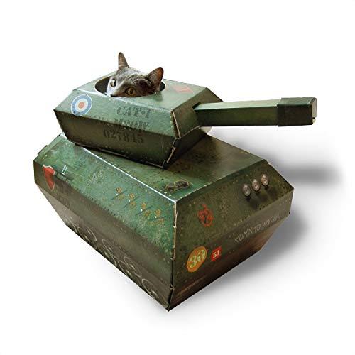 Suck UK Katzen-Spiel-Haus | Neuartiger Karton Katze Panzer | Katzenspielzeug & Zubehör | Flach verpackt und einfach zu montieren