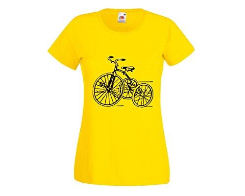 T-Shirt Dreirad- Jahrgang- Retro- Spielzeug- Kindheit- ZYKLUS- ANTIK- Trike- Nostalgie- FAHRT in Gelb für Herren- Damen- Kinder- 104-5XL