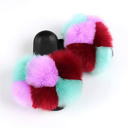 FWKTG Mujer Peludo Pantuflas Sandalias Zapatilla Casa Zapato Antideslizante Mujer Slippers Interiores y Exteriores (Color : M, Size : 40eu)