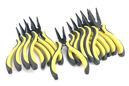 Silverhill Tools ANNBULK Contractor Long Nose Pliers Ergonomic Easy Grip Handle, includes wire cutter (10 Pack)