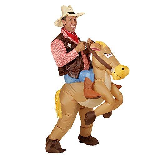 WIDMANN- Disfraz hinchable de caballo, Color marrn, talla nica (75504)