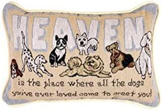 Simply Home Heaven Is The Place Dogs Decorative Tapestry Toss Pillow USA Made SKU: P80-GREET