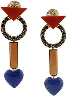 Orecchini Oro, Lapislazzuli, Corallo, Diamanti e Zaffiri