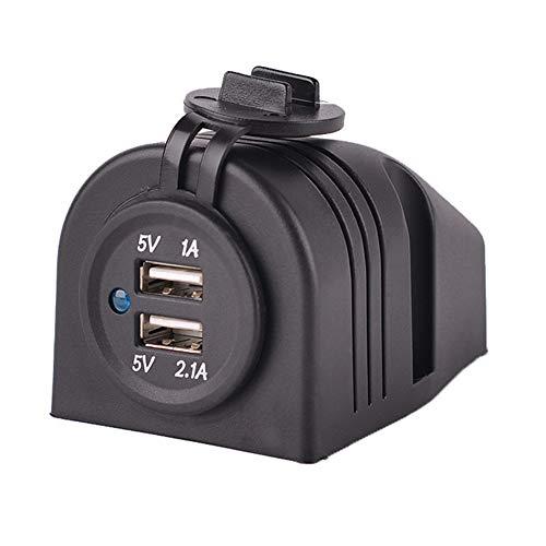 Toma de corriente portátil Cargador a prueba de agua 12V Durable Dual B Adaptador de montaje en superficie universal Enchufe del coche Accesorio negro