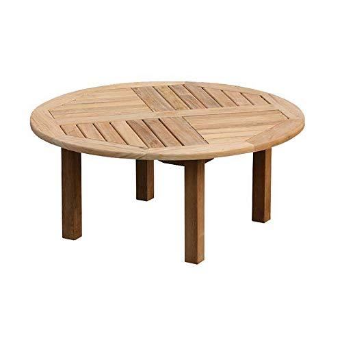 Teako Design Teako Design Couchtisch Verona rund Ø 100 Teak unbehandeltes Massivholz Teakholz Wetterfest Gartentisch Beistelltisch
