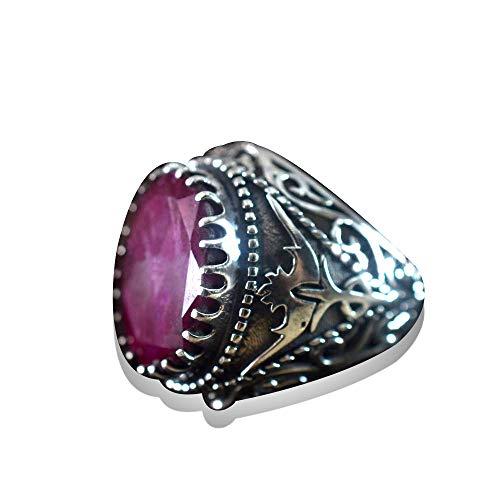 Solid 925 Sterling Silver Mans Ring Ruby Corundum Ring Celtic Designer Handmade Ring Valentine's Day Gift Ring Oval Shape Gemstone Ring Statement Ring Husband Ring