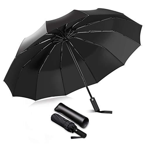 iToncs Regenschirm Sturmfest Groß Schirm Windfest, Taschenschirm Automatik mit Verstärkte 12 Glasfaser SchirmKnochen und Robuste Stahlstange bis 150 km/h, Regenschirm Schwarz für Damen und Herren