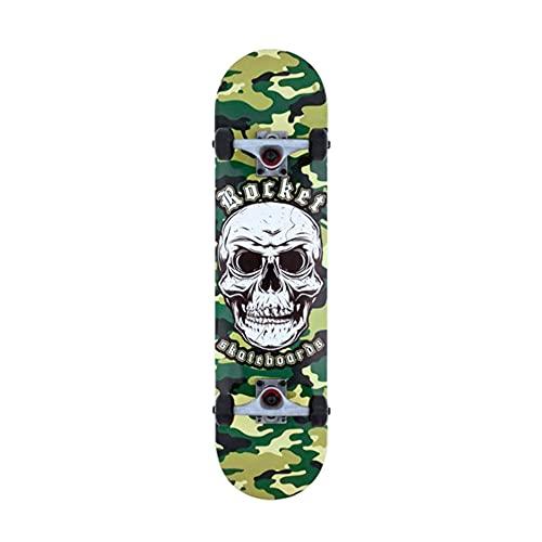 ROCKET Complete Combat Skull Skateboard Unisex Adulto, Grigio (Camo), 7,75 in