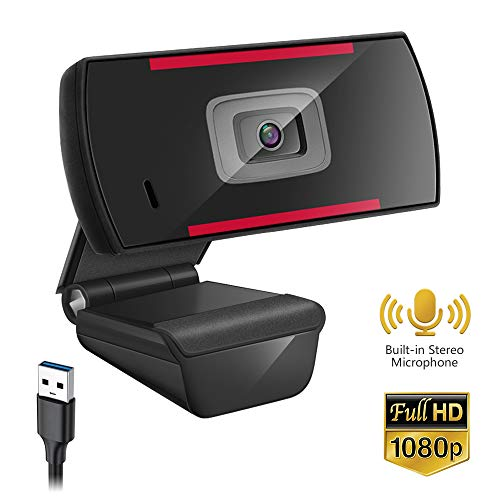 Webcam with Microphone,1080P HD Web Camera with Built-in Stereo Microphone, USB Plug and Play, No Drive Required, for Windows Mac OS, for Video Streaming, Conference, Gaming, Online Classes