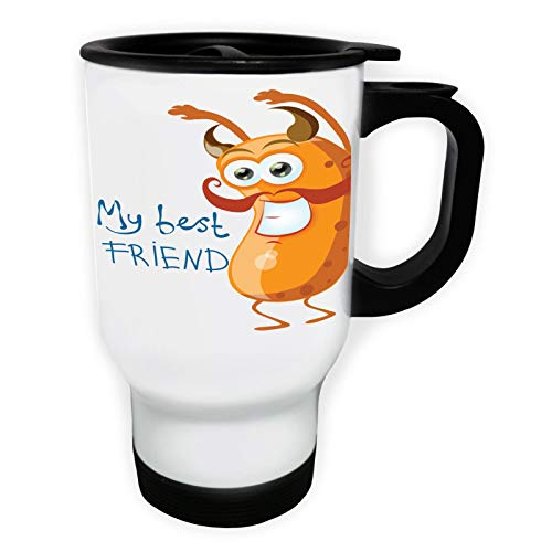 My Best Friend Moustache Monster Tasse de voyage thermique blanche 14oz 400ml ee560tw