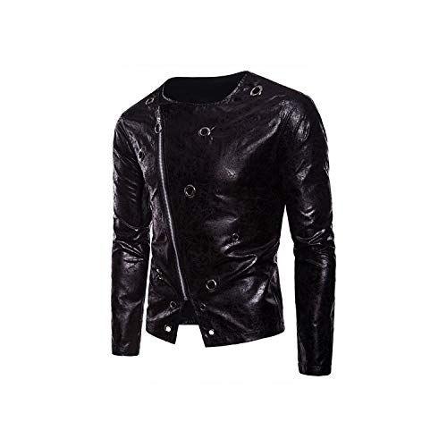 Try My Best Men's Leather Jacket Male Punk Rock Motorcycle Jackets Autumn Casual Long Sleeve Printed Zipper Pu Black Coats,Black,XXL