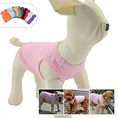 lovelonglong 2019 Summer Pet Clothing, Dog Clothes Blank T-Shirts Ribbed Tanks Top Thread Vests for Large Medium Small Dogs 100% Cotton Pink L-M