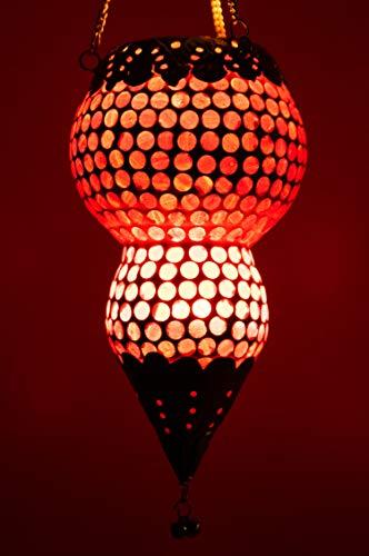 Oosterse mozaïek windlicht hangdraad glas Ajmia rood 20 cm groot | Oosterse glazen theelichthouder met oor oosterse | Marokkaanse lantaarns hangend als hanglampjes