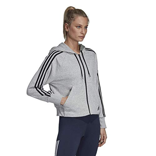 adidas Must Haves 3-Stripes French Terry Sudadera con Capucha, Mujer, Gris (Medium Grey Heather), XL