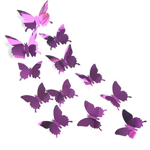 WWWL 3D Wandaufkleber 12pcs / Lot 3D Schmetterling Spiegel Wandaufkleber Aufkleber Wandkunst Abnehmbare Hochzeit Dekoration Kinder Raumdekoration Aufkleber (Color : Purple)