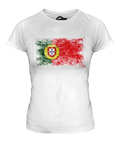Candymix Portugal Drapeau Délavé T-Shirt Femme, Taille Medium, Couleur Blanc