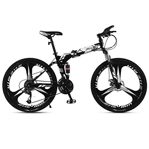 JLFSDB Mountain Bike,Folding 26 Inch Wheels Hard-Tail Mountain Bicycles,Carbon Steel Frame,Dual Suspension Dual Disc Brake (Color : Black, Size : 27-Speed)