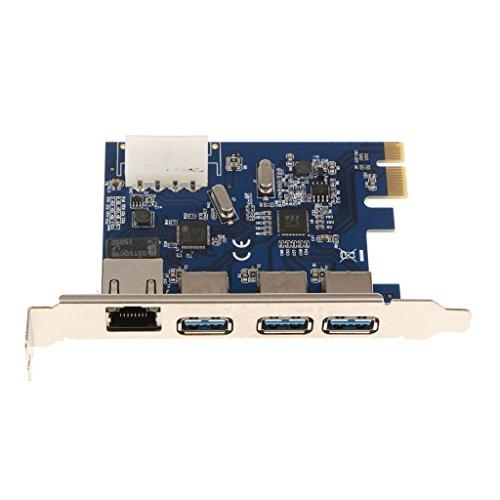 #N/A/a Tarjeta PCI de 3 Puertos PCI USB 3.0 Más Conexión de Adaptador Gigabit Ethernet