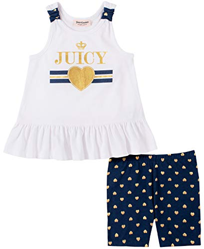 Juicy Couture Girls' 2 Pieces Bike Shorts Set, White/Navy Print, 6