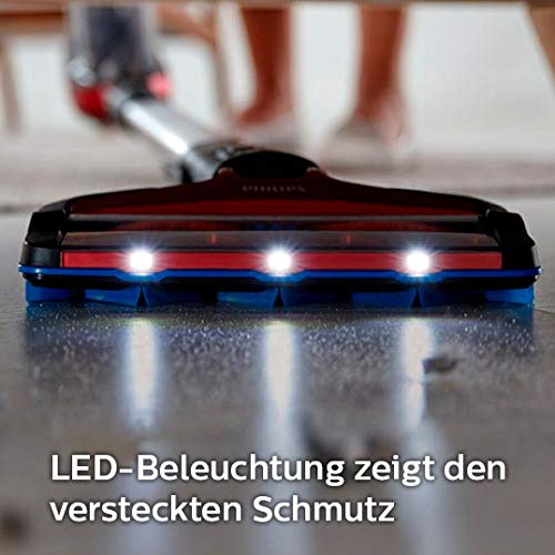 Philips XC7042/01 SpeedPro Max kabelloser Akku Staubsauger 7000 Series, 360°-Saugdüse, 65 Min. Akkulaufzeit, beutellos, inkl. Handstaubsauger, rot - 7