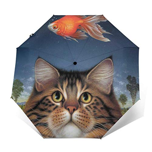 Automatisches Öffnen Schließen Winddichter Anti-UV-Reiseschirm Wildlife Art Katzenfutter Heute Goldfisch Katatonischer Sonnenuntergang Leichtgewicht