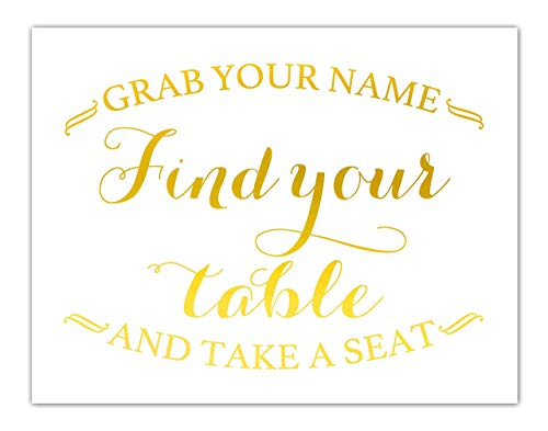 Find Your Seat Gold Foil Print Wedding Sign Reception Seating