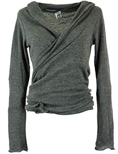 Guru-Shop Wickelshirt, Baumwollstrick Pullover, Wickeljacke, Damen, Granitgrau, Baumwolle, Size:M (38), Pullover, Longsleeves & Sweatshirts Alternative Bekleidung