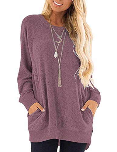 MISFAY Womens Casual Long Sleeve Round Neck Pocket T Shirts Blouses Tunic Sweatshirt Tops with Pocket (M, Wine Red)