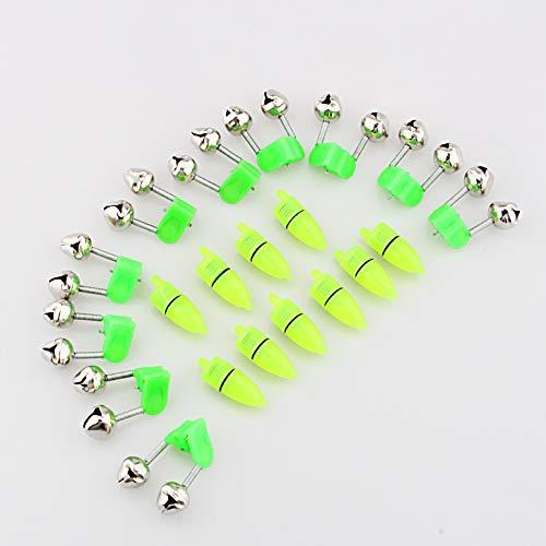 Nikou Angelglocken Nachtangeln Zubehör - Angeln Glocken Nachtangeln Zubehör Rod Tip LED-Licht Clip Rod Twin Bells Ring Biss Lure Indicator Alarm