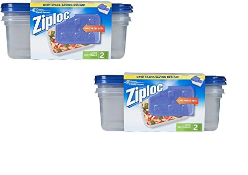 Ziploc Container Large Rectangle, 9 cup Containers - 2 ct (Pack of 2-4...