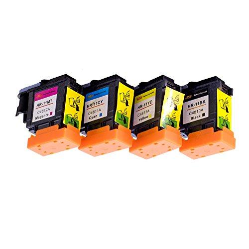 Lucky Bridge 4PK HP11 Druckkopf C4810A C4811A C4812A C4813A Generalüberholt Kompatibel für HP 11 Druckkopfdrucker (1BK, 1M, 1Y, 1C)