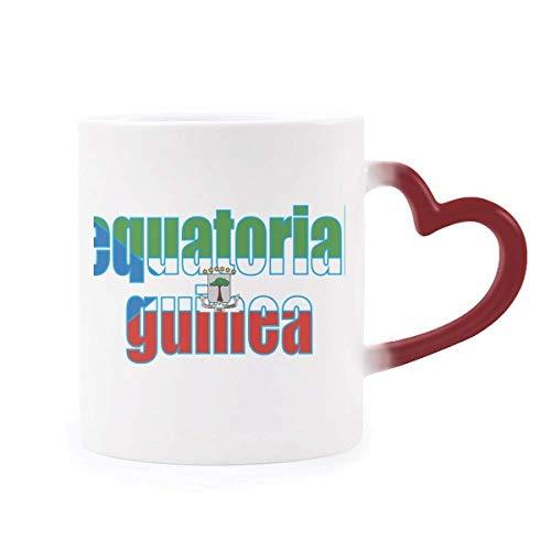 DIYthinker Äquatorial-Guinea Flagge Namen Morphing Becher-Hitze-Sensitive rotes Herz Cup Mehrfarbig