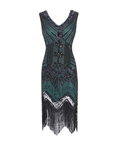 YonglanA Damen Der 1920er Jahre V Ausschnitt Perlen Fransen Gatsby Plus Size Flapper Kleid Für Abschlussball Dunkelgrün L