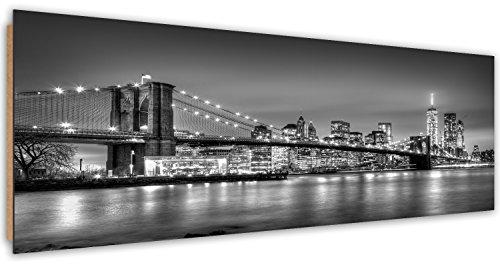 Feeby Tableau mural Tableau Déco Tableau 100x50 cm Imprimé Tableau Deco Panel Panoramique BLANC GRATTE-CIEL IMMEUBLES ARCHITECTURE EAU NOIR ET PONT DE BROOKLYN À NEW YORK