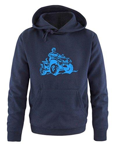 Comedy Shirts - Quad ATV - Herren Hoodie - Navy / Blau Gr. XL