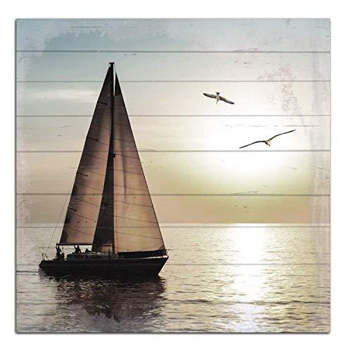 Cuadros Lifestyle Wandbild aus Holz | Holzbild | Shabby-Look | Landhaus | Segelschiff | Eingang | Vintage | Geschenk, Größe:ca. 50x50 cm