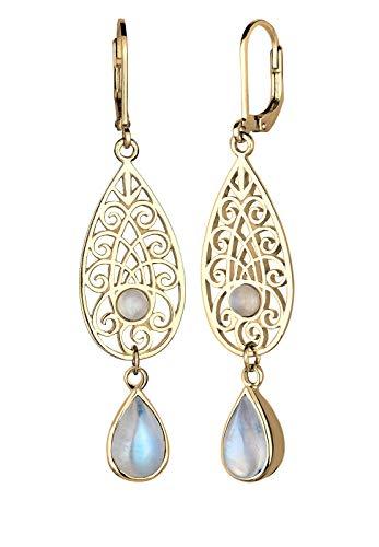Elli Ohrringe Tropfen Ornament Orientalisch Mondstein 925 Silber