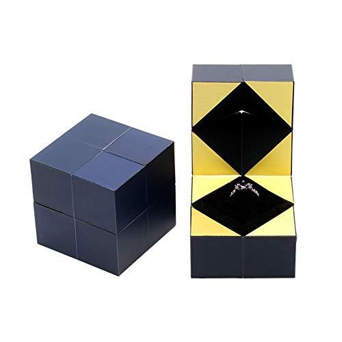Caja de Anillo Giratoria de Cubo de LOVEMIN, Caja De Anillo De Boda, Caja de Regalo, una Gran Opción Para El Día de San Valentín y Regalos de Boda