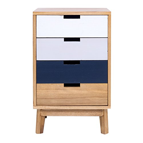 Mobili Rebecca® Chest of Drawers Bedside Table 4 Drawers Brown Contemporary Design Sitting Room Entrance (Cod. RE4996)