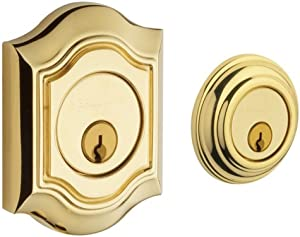 Baldwin 8238.003 Bethpage Deadbolt 2-1/8-Inch Door Prep, Lifetime Polished Brass