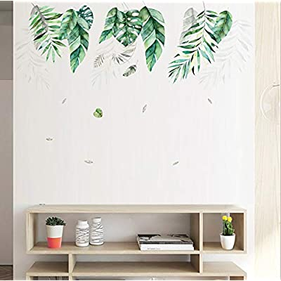 Amazon - Save 50%: Holly LifePro Green Tropical Leaves Wall Decals Peel and Stick Tree Leaf Plants Wal…